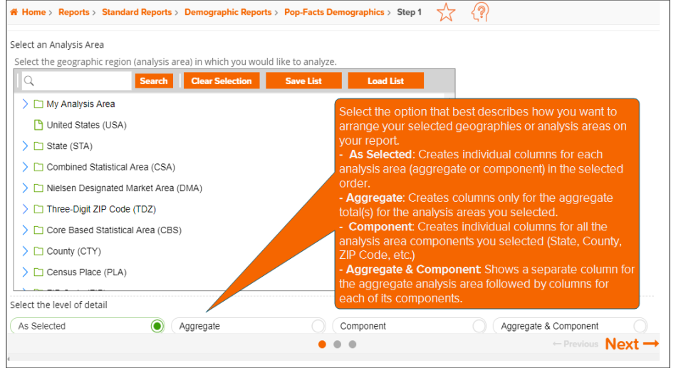 Pop-Facts Demographic Trend Report: Select an Analysis Area and the